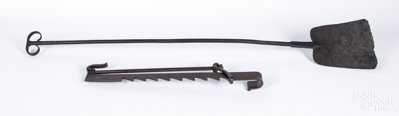 Wrought iron peel and trammel 19th c.