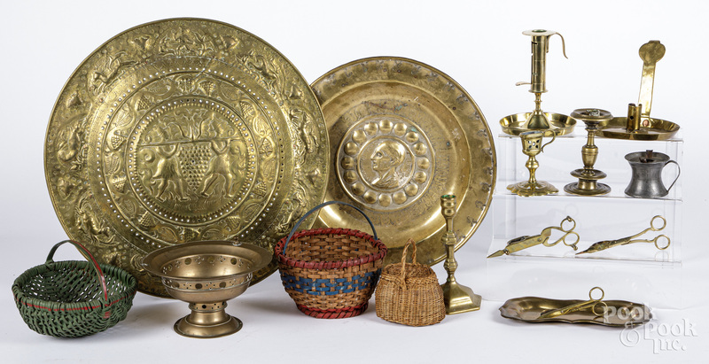 Miscellaneous group of metalware, baskets, etc.
