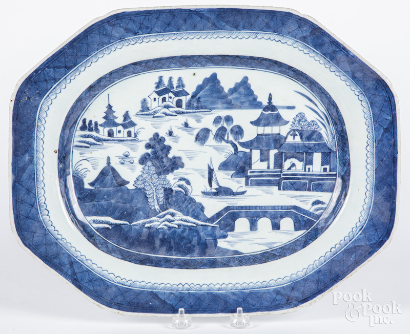Chinese export porcelain Canton platter, 19th c.
