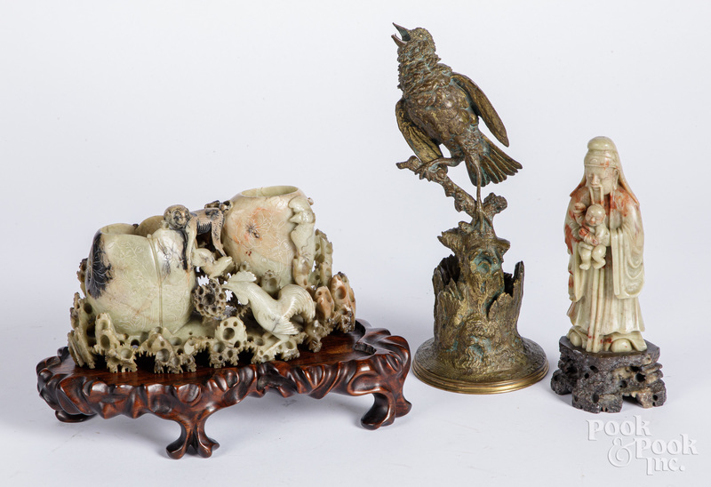 Two Chinese soapstone carvings and a bronze bird