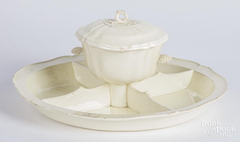 Creamware serving dish, late 18th c.