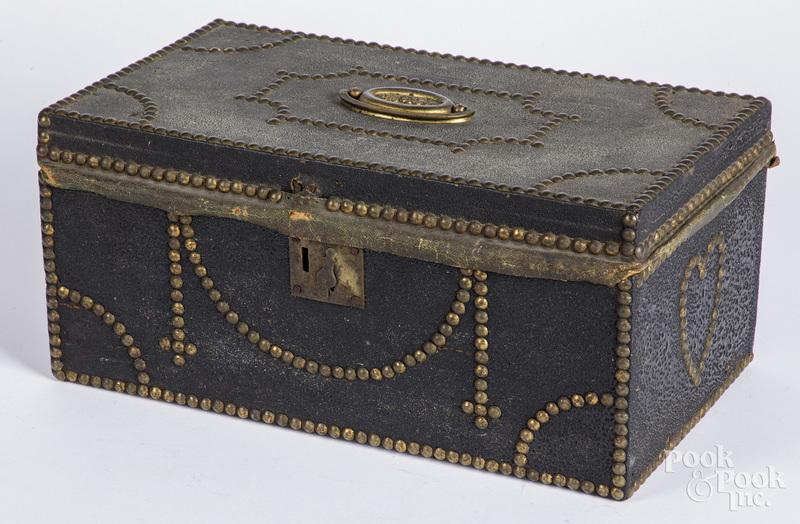 Leather lock box, 19th c.