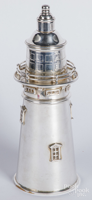 Silver plate lighthouse cocktail shaker.