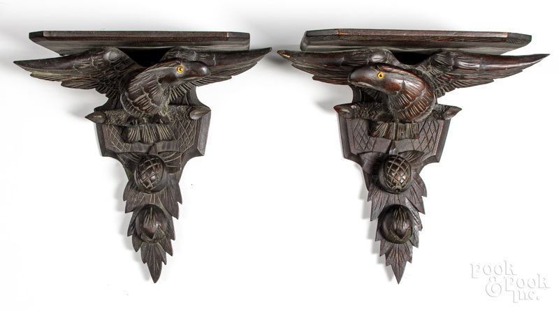 Pair of Black Forest eagle wall brackets, ca. 190