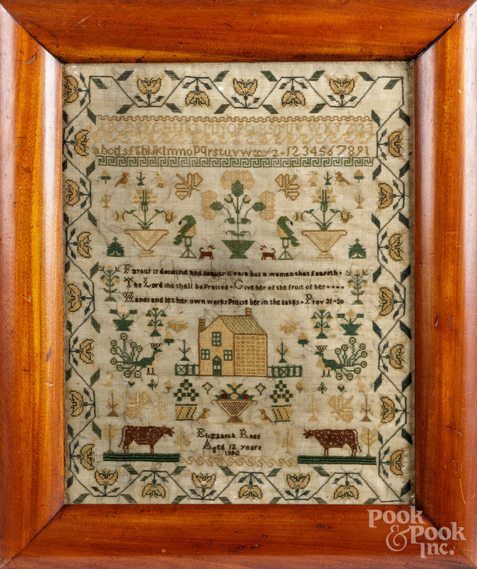 English silk on linen sampler, dated 1842.