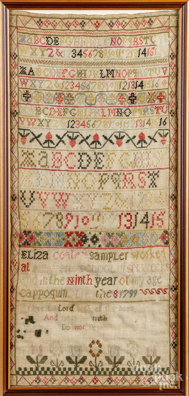 English silk on linen band sampler, dated 1799.