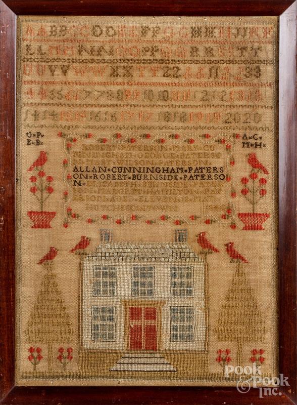 Scottish silk on linen sampler, dated 1840.