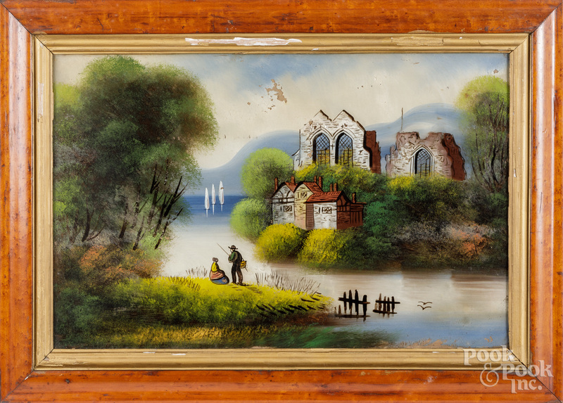 Three reverse paintings on glass, 19th c.