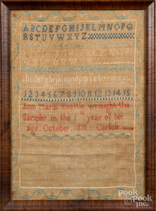 Carlisle, Pennsylvania silk on linen sampler.