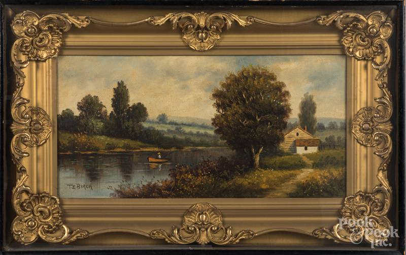 Oil on canvas landscape, ca. 1900.