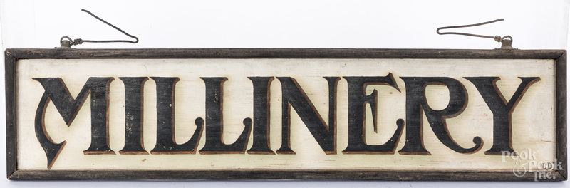 Painted Millinery trade sign.