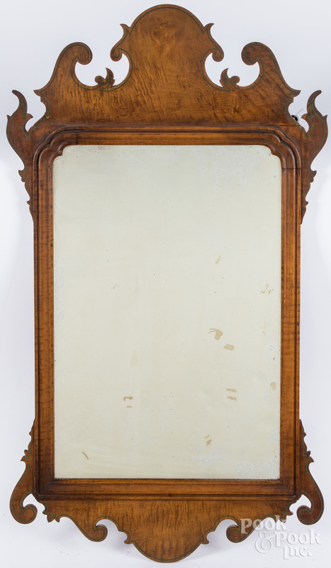 Chippendale style tiger maple mirror.
