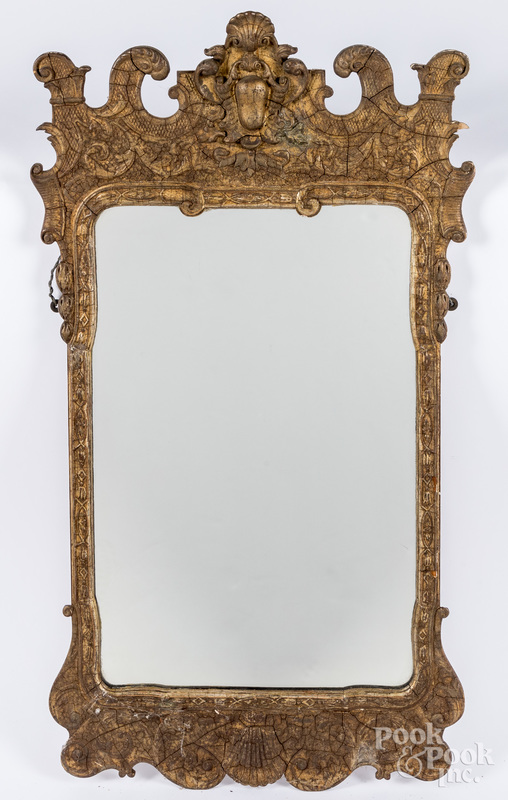 Continental giltwood mirror, ca. 1900.