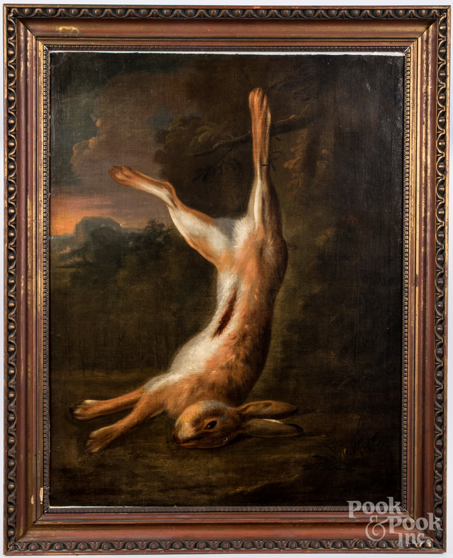 Oil on canvas hanging rabbit, 19th c.