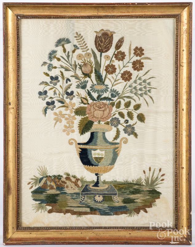 Silk on silk embroidery of potted flowers, 19th c