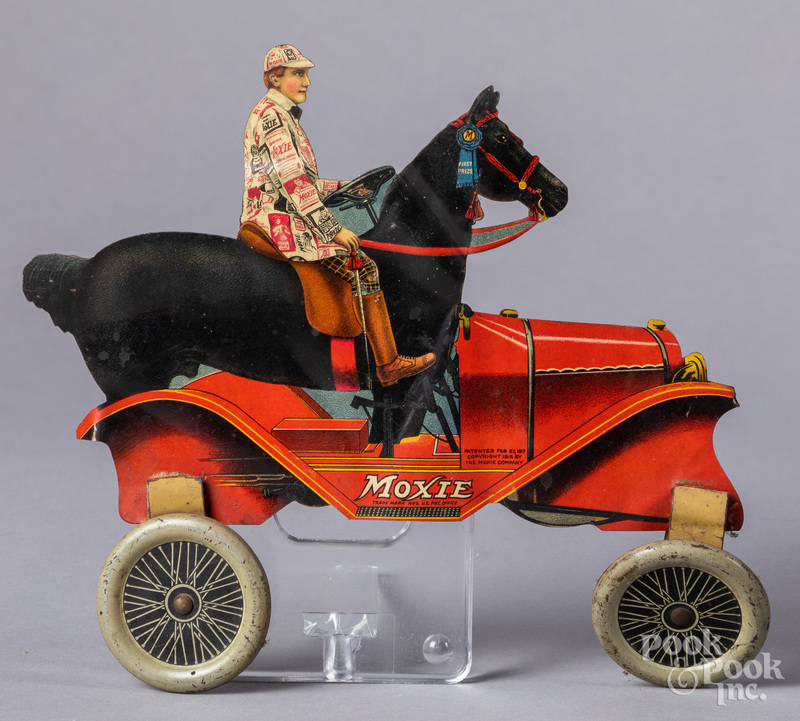 Moxie tin lithograph advertising horse car