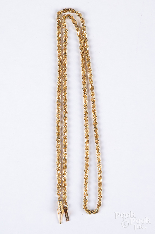 10K gold necklace, 6.9 dwt.