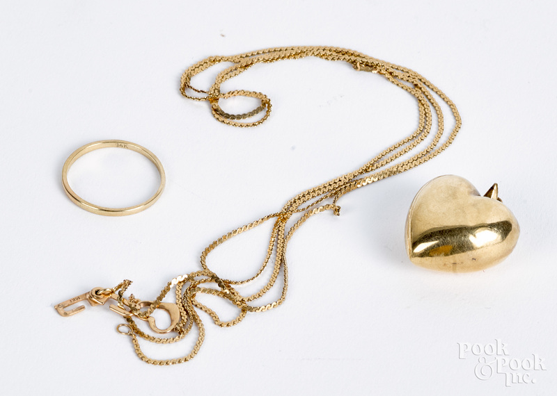 14K gold ring, necklace and heart pendant