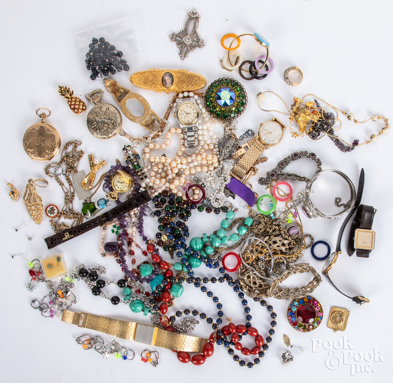 Costume jewelry and wristwatches.
