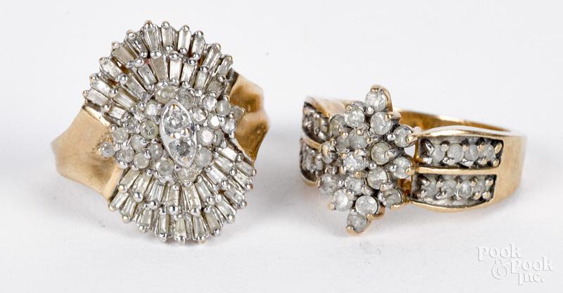 Two 10K gold diamond cluster rings, 6.3 dwt.