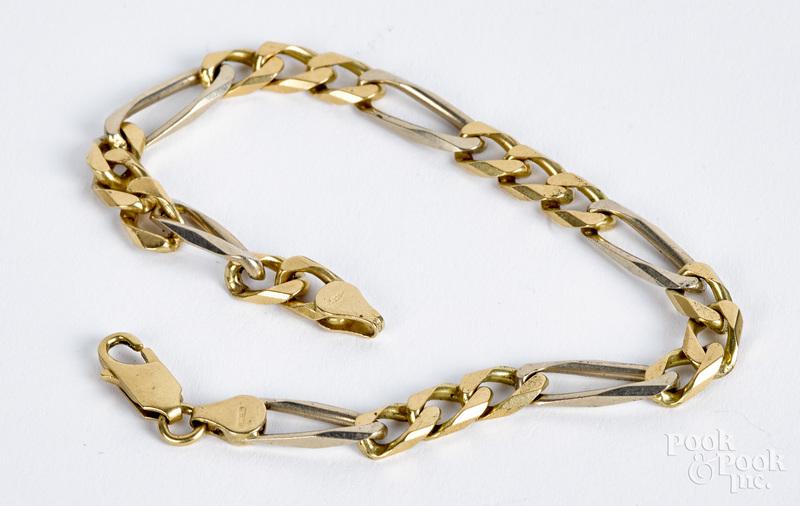 18K gold chain link bracelet, 13.7 dwt.