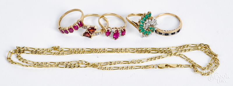 10K gold and gemstone jewelry, 9.5 dwt.
