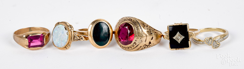 Six 10K gold and gemstone rings, 16.3 dwt.