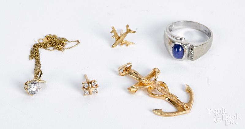 14K gold and gemstone jewelry, 9.1 dwt