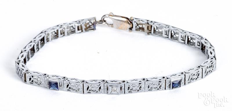 14K gold diamond and gemstone bracelet