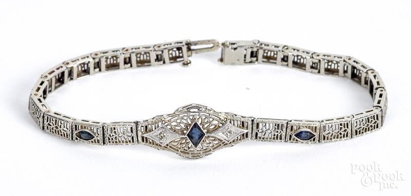 14K gold diamond and gemstone bracelet, 5.6 dwt.