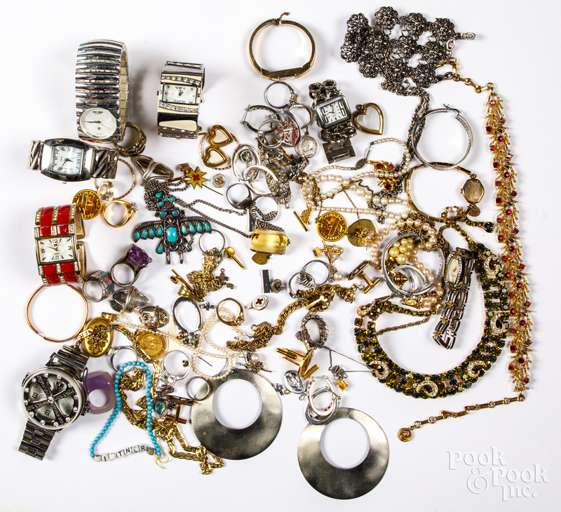 Costume and silver jewelry, wrist watches, etc.