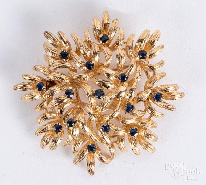 14K gold and gemstone brooch, 7.5 dwt.