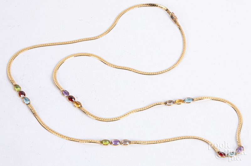 14K gold and gemstone necklace, 11.5 dwt.