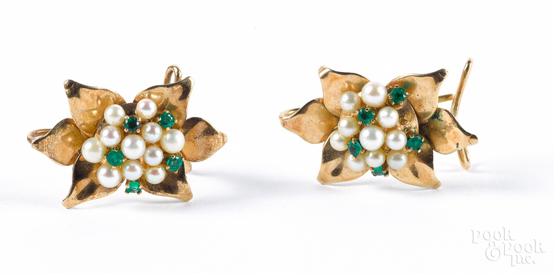 Pair of 14K gold, pearl and gemstone earrings