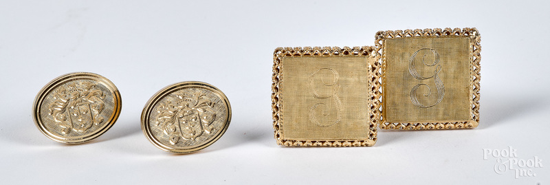 Two pairs of 14K gold cuff links, 16.1 dwt.