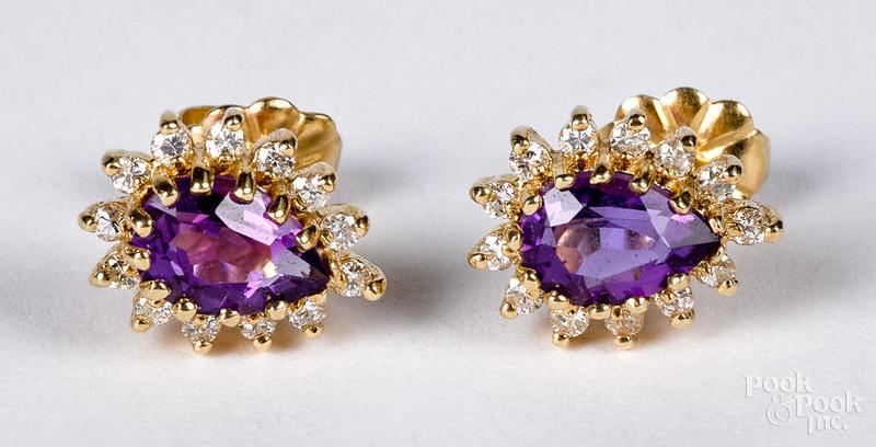 Pair of 14K gold diamond and amethyst earrings