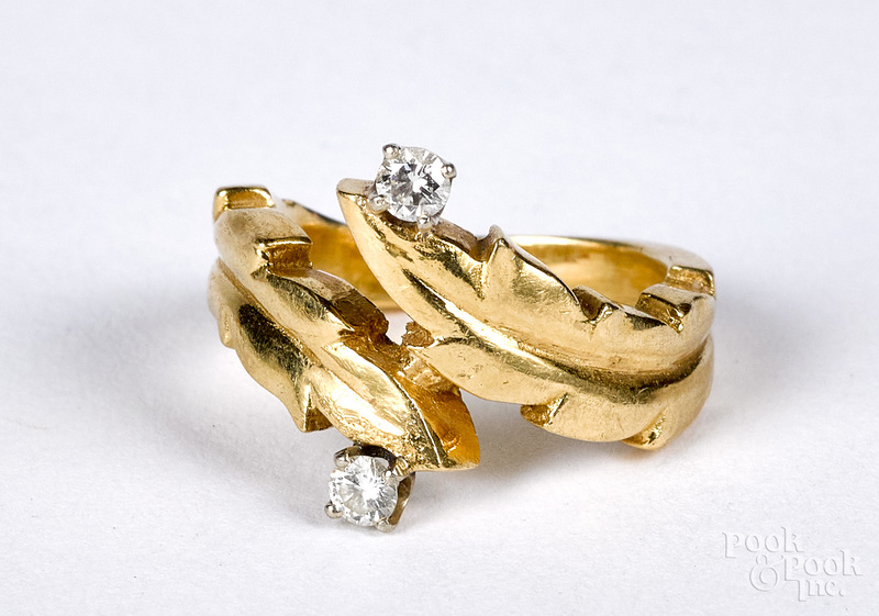 18K gold and diamond ring, size 3, 4.1 dwt.