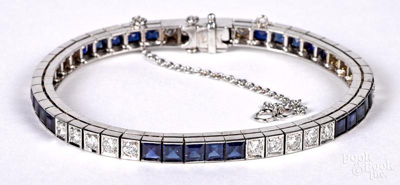 14K white gold diamond and gemstone bracelet