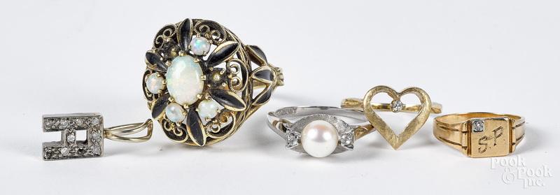 10K gold and gemstone jewelry, 12.7 dwt.