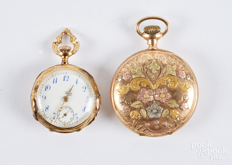 14K gold ladies pocket watch, 14.6 dwt.