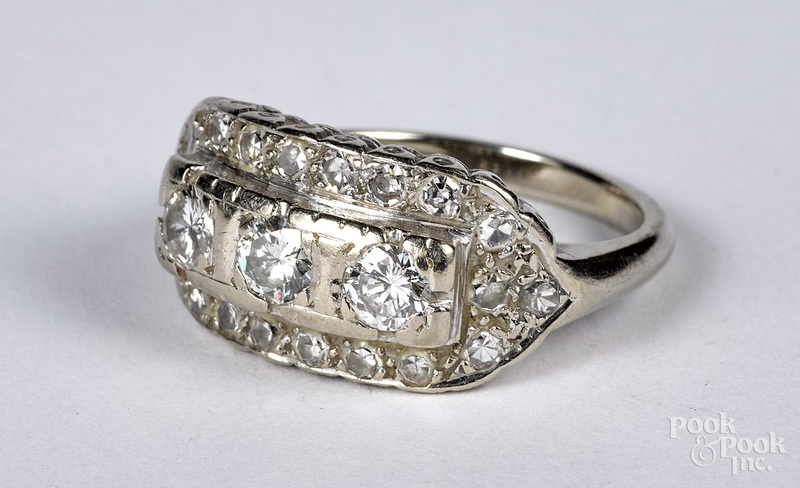 14K white gold and diamond ring, size 6, 3.3 dwt.