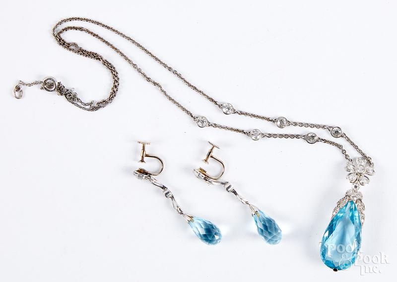 Gold, silver, diamond, gemstone necklace & earrin