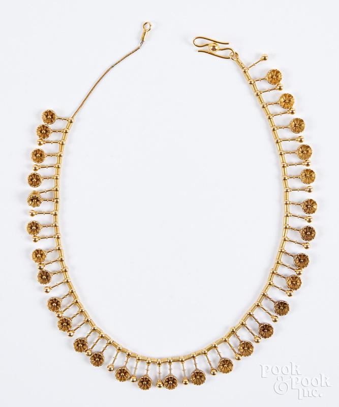 18K gold necklace, 19 dwt.