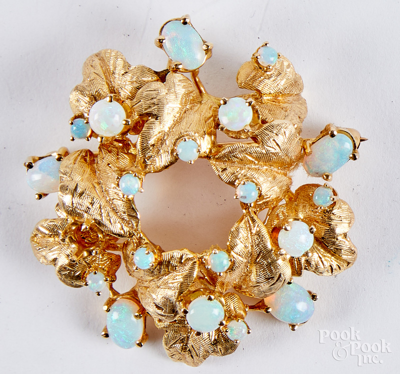14K gold and AA quality opal brooch
