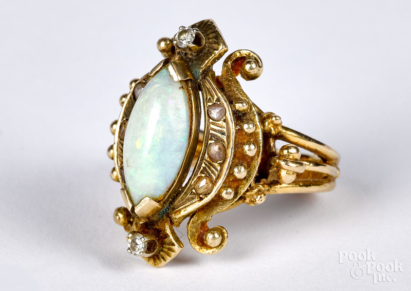 14K gold, AA quality opal and diamond ring