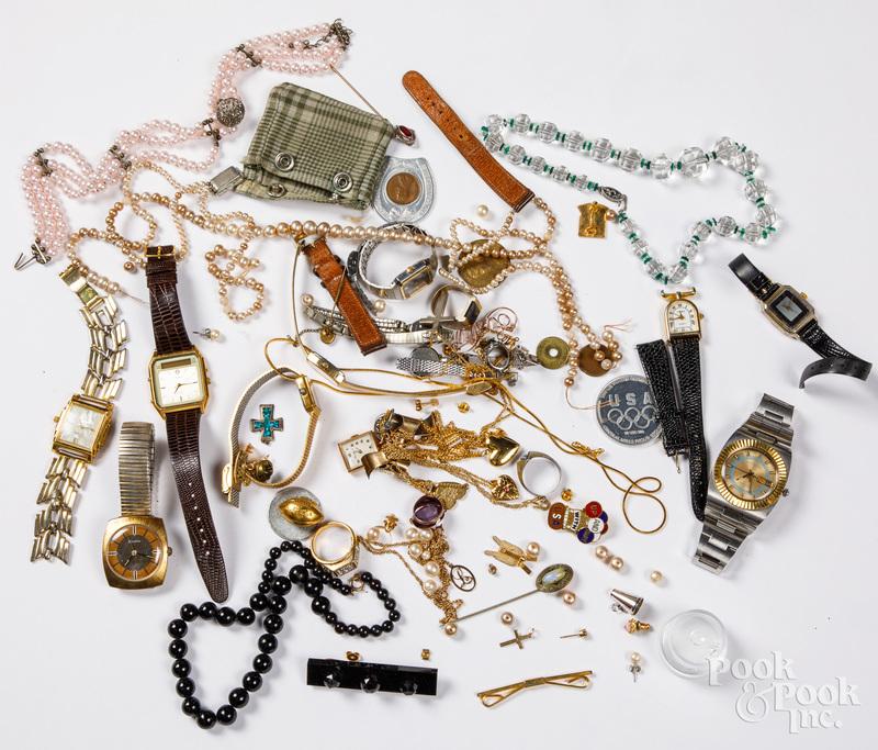 Costume jewelry, wrist watches, etc.