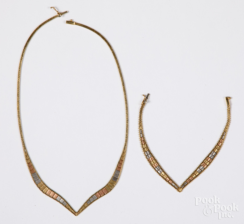 14K gold three-tone necklace and bracelet