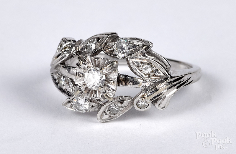 14K white gold and diamond cluster ring