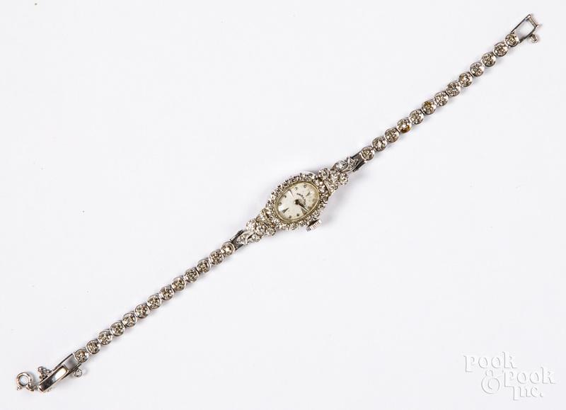 14K white gold & diamond ladies wristwatch
