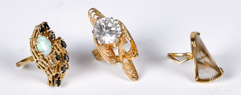 Three 14K gold and gemstone rings
